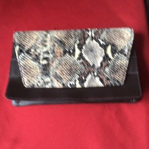 Banana Republic brown and black croc -style clutch